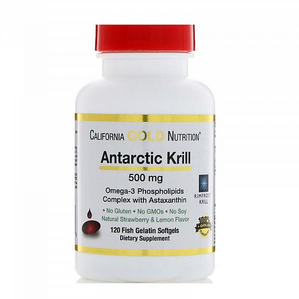 Жир арктического криля с астаксантином (Krill oil with astaksanthin) 500 мг 120 капсул со вкусом лимона и клубники