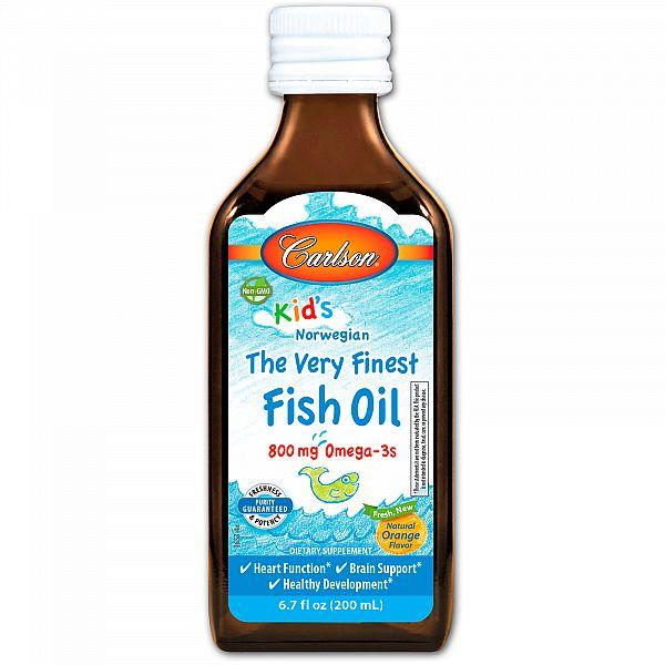 Рыбий жир жидкий для детей (Fish oil) 200 мл со вкусом апельсина