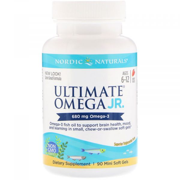 Рыбий жир для подростков (Ultimate Omega junior) 90 капсул со вусом клубники
