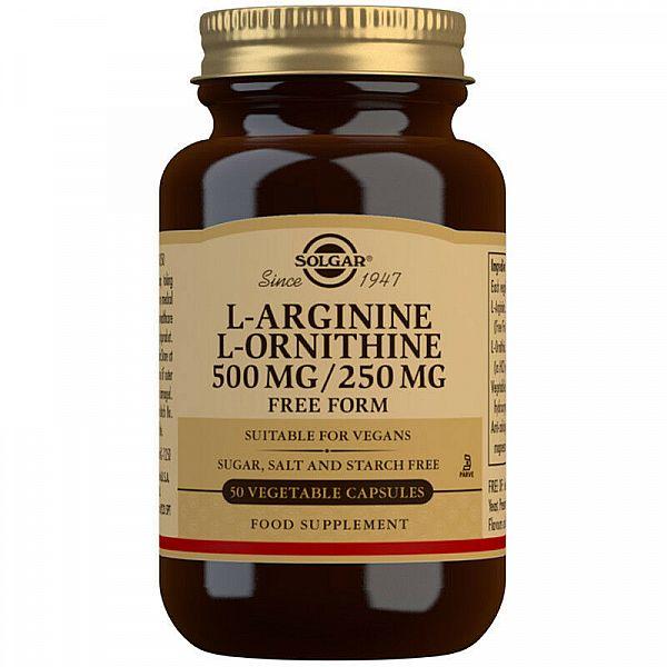 L-аргинин и L-орнитин (L-Arginine & L-Ornithine) 500 мг/250 мг 50 капсул