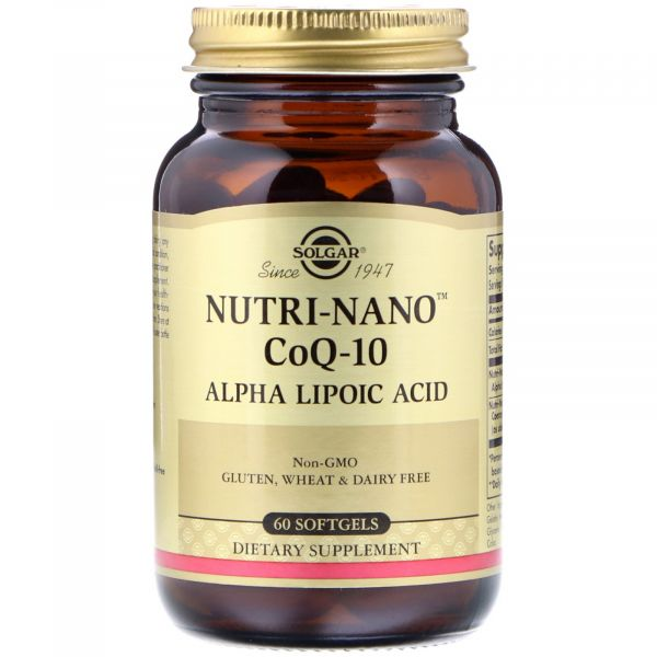 Коэнзим Q10 и альфа липоевая кислота (Nutri-Nano CoQ-10 Alpha Lipoic Acid) 45 мг/50 мг 60 капсул