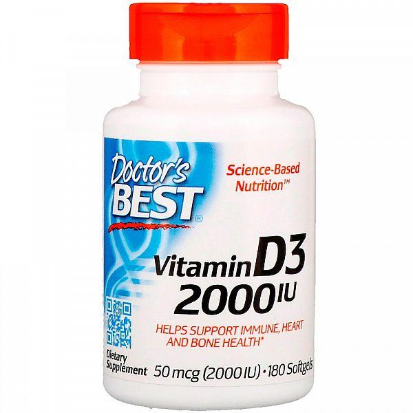 Витамин D3  (Vitamin D3) 2000 МЕ 180 капсул
