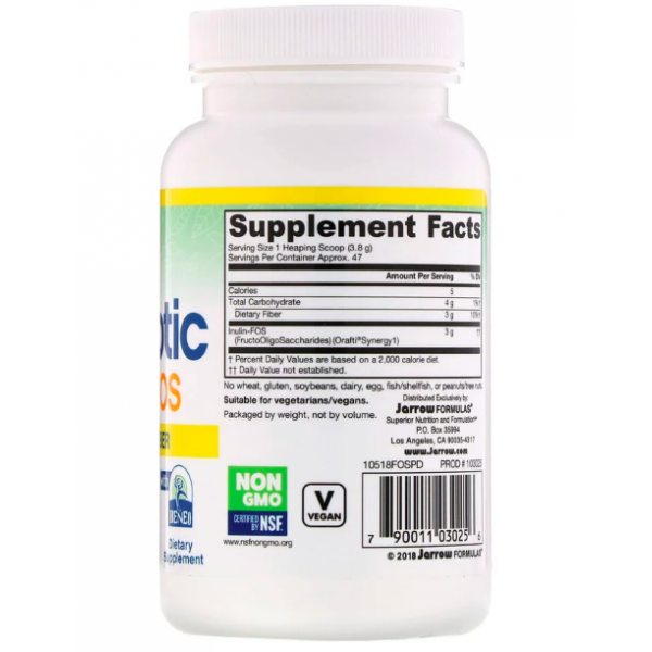 Инулин и фруктоолигосахариды (Prebiotic Inulin FOS Powder) 3000 мг 180 г