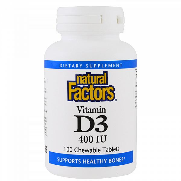 Витамин D3 (Vitamin D3) 400 ME 100 жевательных таблеток со вкусом клубники