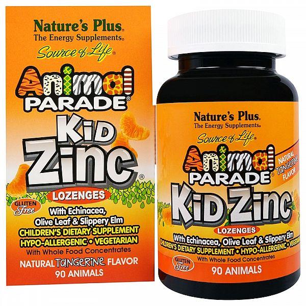 Цинк для детей (Kid Zinc Animal Parade) 90 леденцов со вкусом мандарина