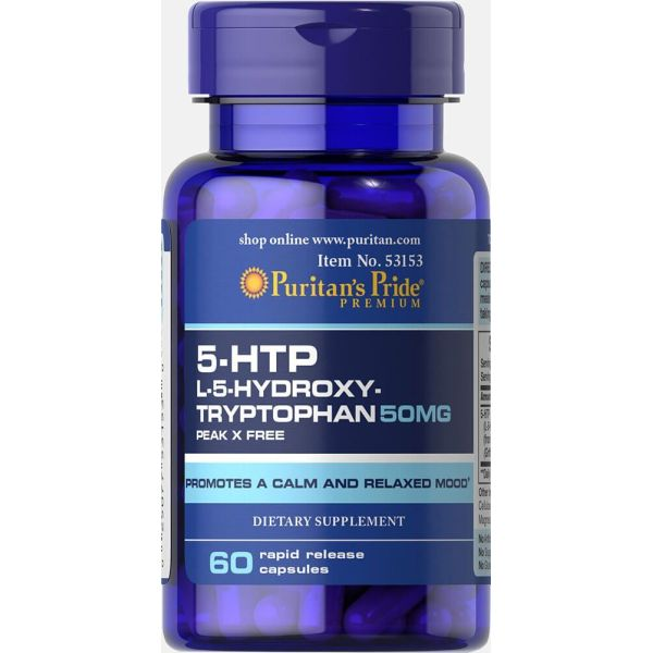 5-HTP (5-Гидрокситриптофан), Griffonia Simplicifolia, 50 мг, 60 капсул