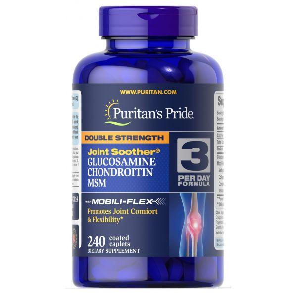 Глюкозамин хондроитин и МСМ (Double Strength MSM) 500 мг/400 мг 240 капсул