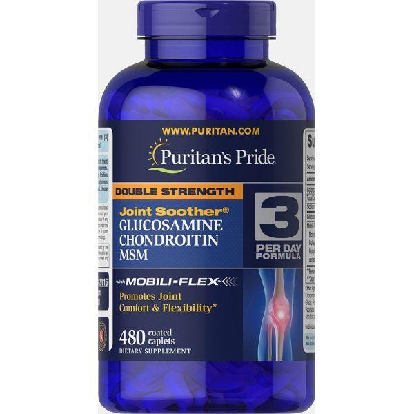 Глюкозамин хондроитин и МСМ (Double Strength MSM) 500 мг/400 мг 480 капсул