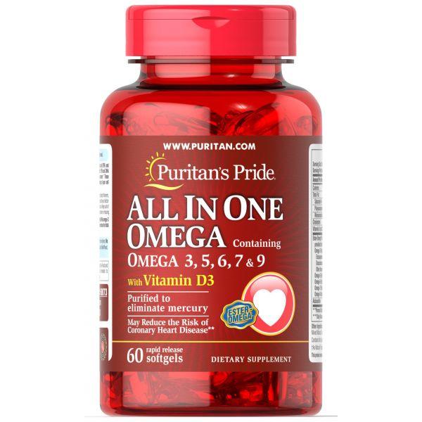 Омега 3-5-6-7-9 и витамин Д3 (Omega 3, 5, 6, 7 & 9 with Vitamin D3) 60 капсул
