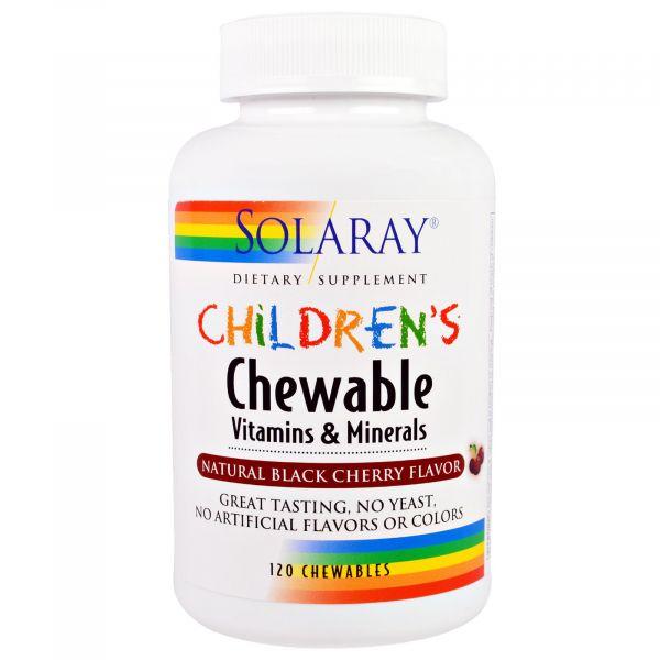 Мультивитамины для детей (Children's Chewable Vitamins & Minerals) 120 жевательных таблеток со вкусом вишни