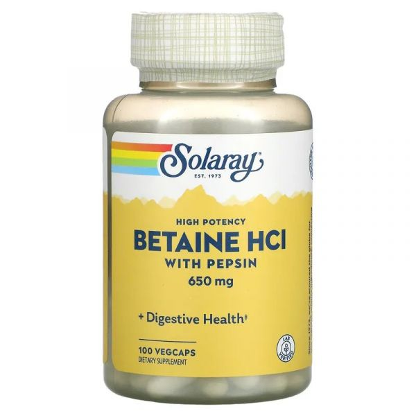 Бетаин HCl + пепсин (HCL with Pepsin) 650 мг 100 капсул