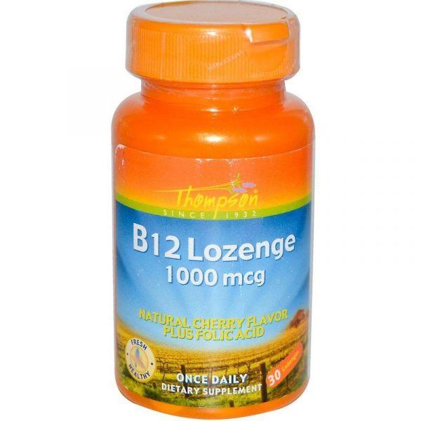 Витамин B12 (Vitamin B12 Lozenge) 1000 мкг 30 таблеток для рассасывания со вкусом вишни